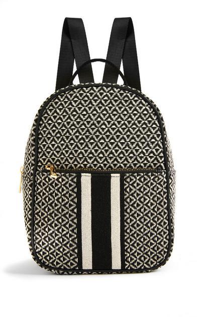 Black Jacquard Zip Front Backpack