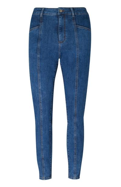 Blaue Skinny Jeans mit Ziernaht vorne