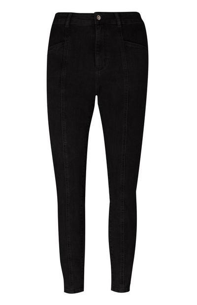 Schwarze Skinny Jeans mit Ziernaht vorne