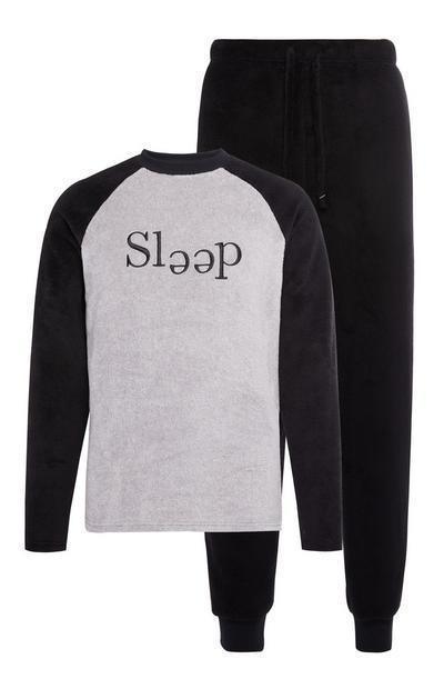 Zwart-grijze pyjamaset van sherpastof