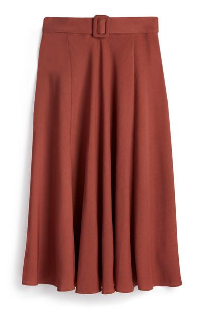 Coral Belted Pleat Midi Skirt