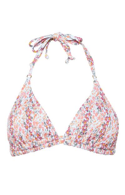 Pink Floral Shirred Ditsy Triangle Bikini Top