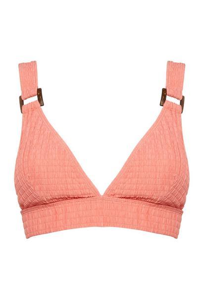 Top de bikini fruncido con escote profundo color coral