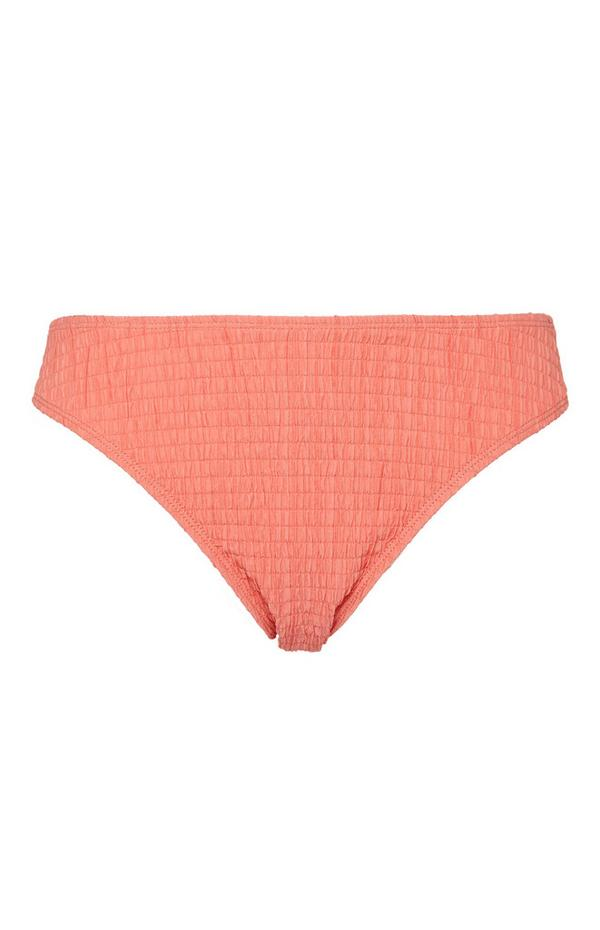 Coral Shirred Bikini Briefs