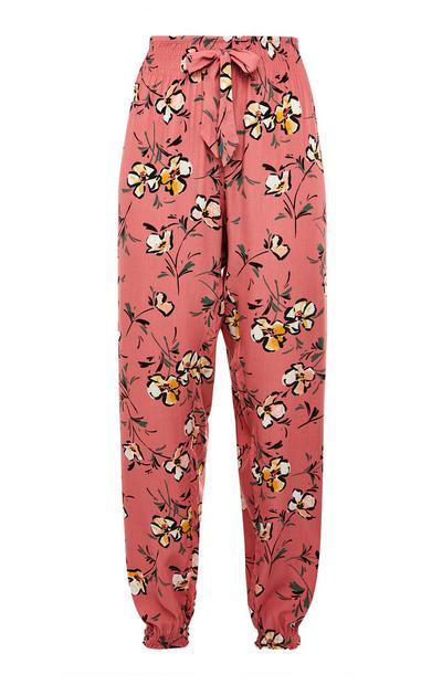Blush Pink Viscose Graphic Floral Print Leggings