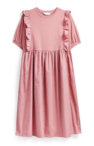 Ruffled Pink Poplin Midi Dress
