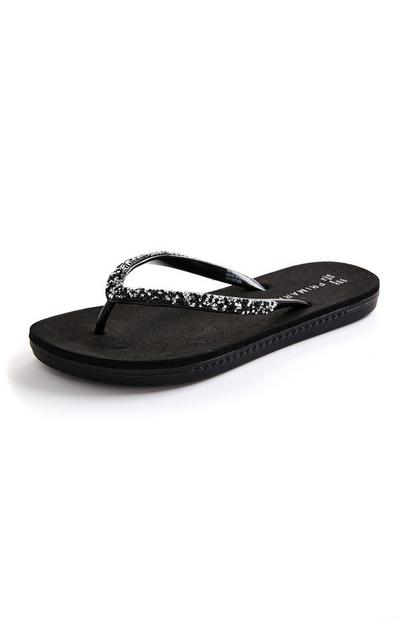 Black Diamante Thong Flip Flops
