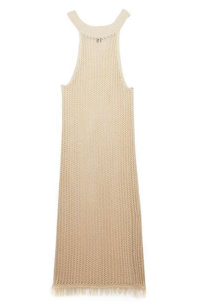 Beige Knitted Tassel Dress