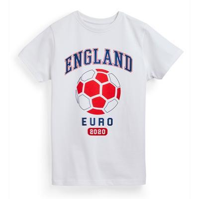 Older Boy White England Euros Football T-Shirt