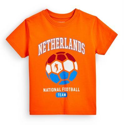 T-shirt de foot orange Euro Pays-Bas garçon