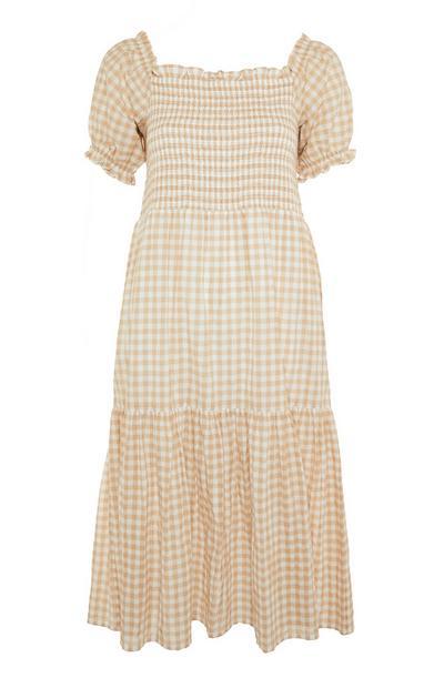 Yellow Shirred Puff Sleeve Tiered Bardot Midi Dress