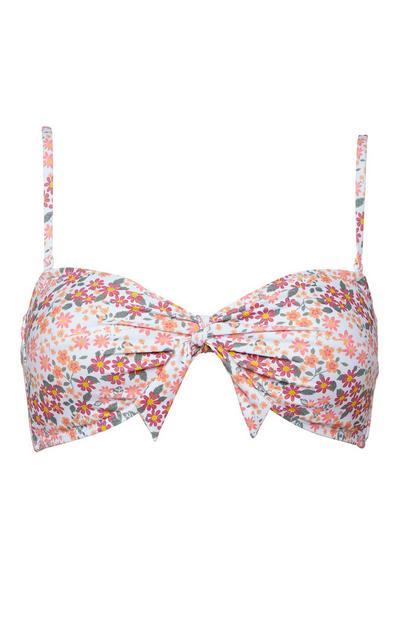 Pink Floral Twist Front Bandeau Bikini Top