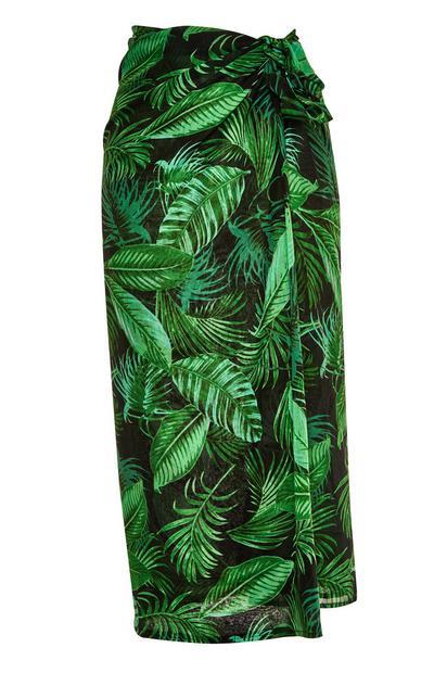 Green Leaf Print Sarong