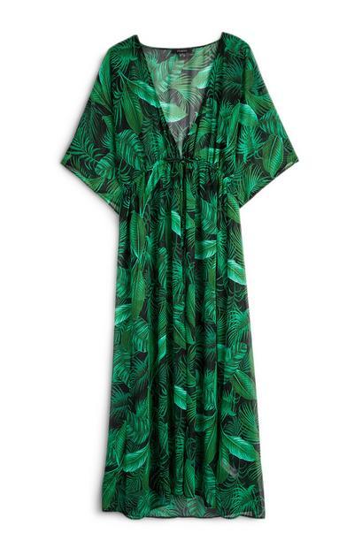 Green Leaf Print Kimono