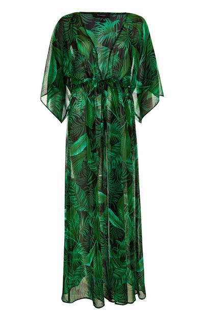 Green Leaf Print Maxi Kimono