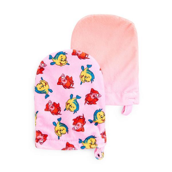 Pink Disney The Little Mermaid Sebastian Cleanser Mitts, 2 Pack