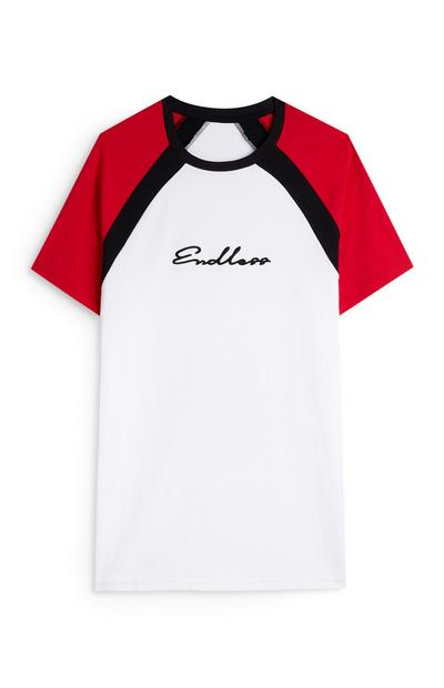 White Endless Slogan Red Sleeve Raglan T-Shirt
