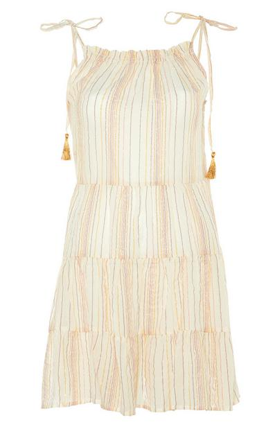 Ecru Striped Tiered Shoulder Tie Dress