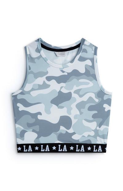 Korte blauwe top met camouflageprint voor meiden