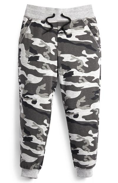 Grey Younger Boy Camo Jogger