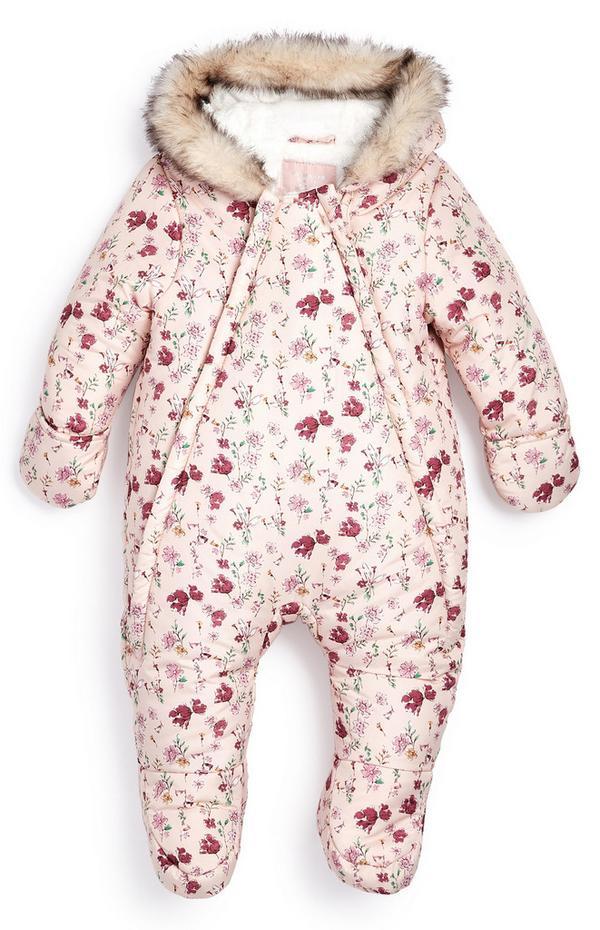 Schneeanzug mit Blumenmuster für Babys (M)
