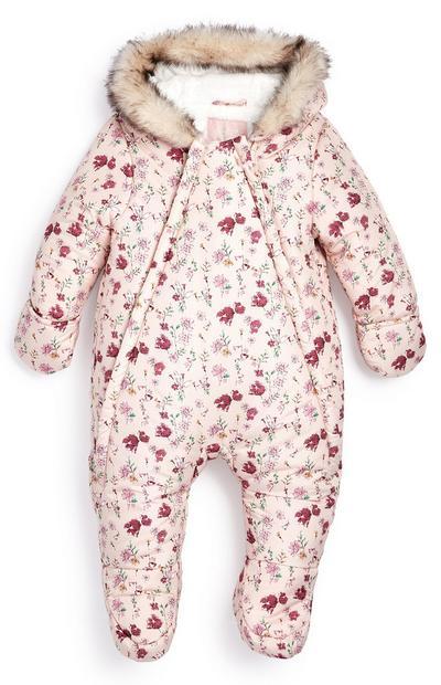 Dekliški zimski kombinezon s cvetličnim vzorcem za dojenčke