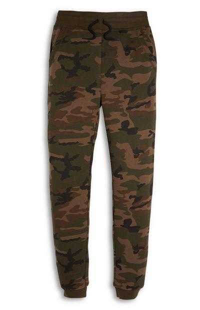 Older Boy Olive Camo Joggers