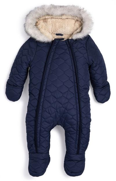 Baby Boy Fur Lined Snowsuit