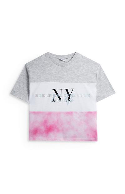 "Grau-rosafarbenes ""NY"" T-Shirt im Batikdesign (Teeny Girls)"
