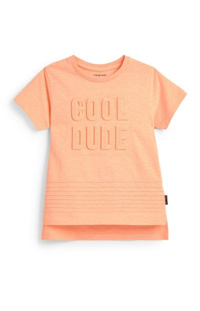 T-shirt relevo Cool Dude menino cor de laranja