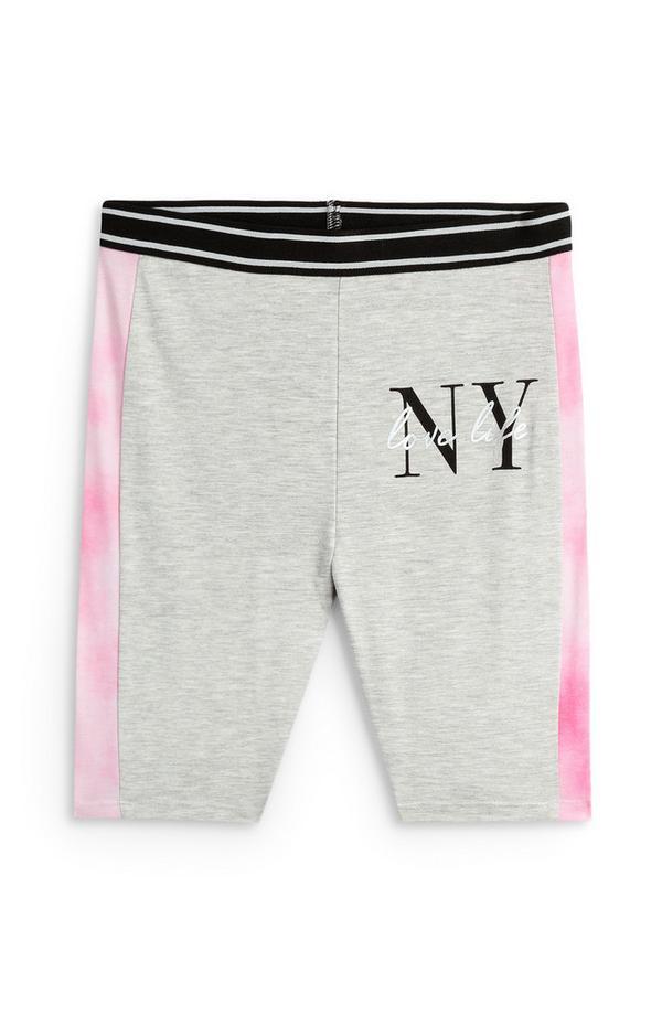 Older Girl Gray NY Pink Side Panel Cycling Shorts