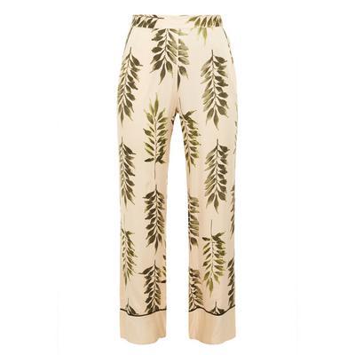 Leggings cetim estampado folhas marfim