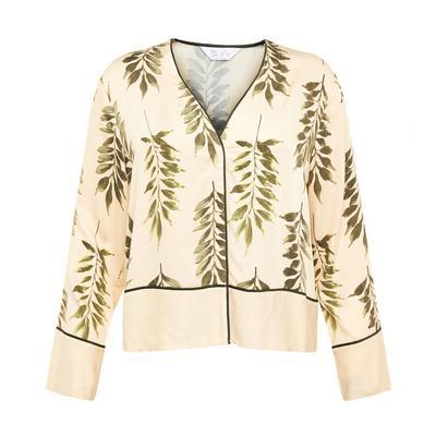 Camisa cetim estampado folhas marfim