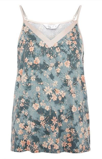 Grey and Pink Floral Pattern Cami