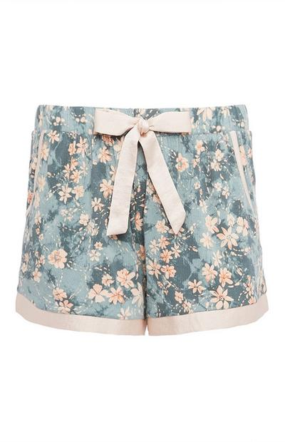Gray and Pink Floral Shorts