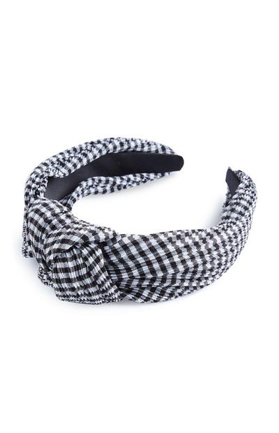 Black And White Check Knot Headband