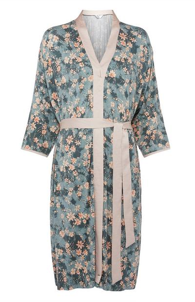 Grey and Pink Floral Pattern Robe