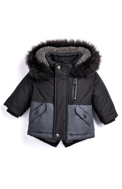 Grey Baby Boy Fur Lined Hooded Parka