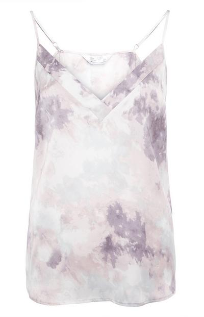 Grey Satin Cloud Print Cami