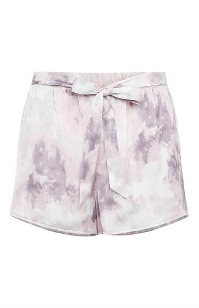 Grey Satin Cloud Print Short Shorts