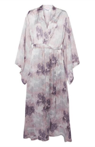 Grey Satin Cloud Print Robe