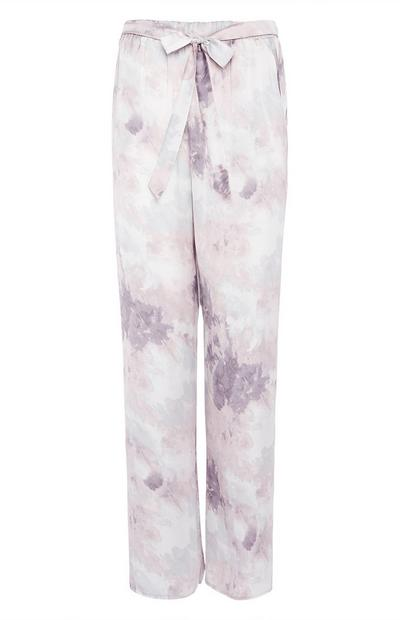 Grey Satin Cloud Print Leggings
