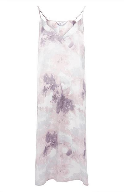 Grey Satin Cloud Print Chemise