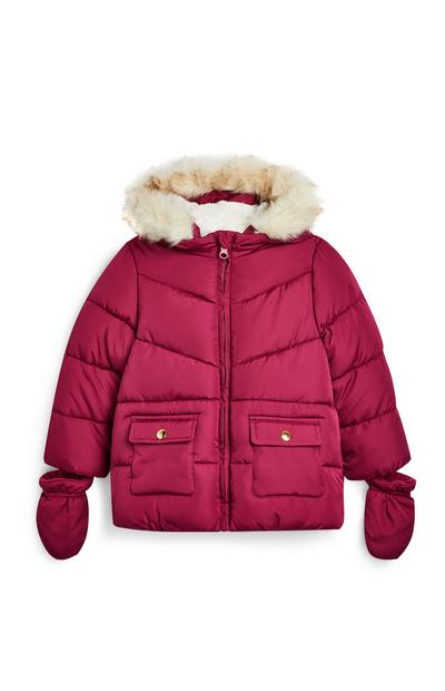 Baby Girl Dark Red Padded Jacket With Mittens