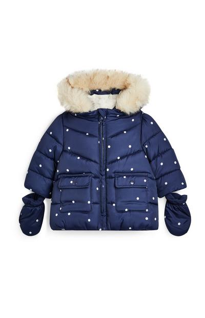 Baby Girl Navy Polka Dot Padded Jacket With Mittens