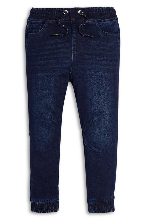 Pantalón de chándal de punto en color azul oscuro vaquero para niño pequeño