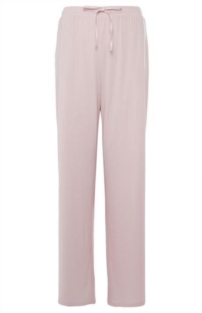 Rožnat rebrast spodnji del pižame s širokimi hlačnicami
