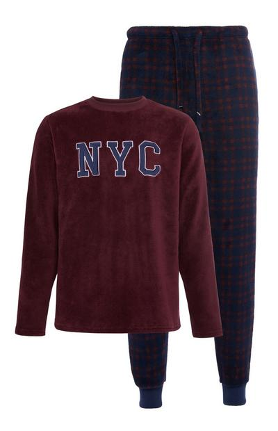 Pigiama bordeaux in sherpa NYC