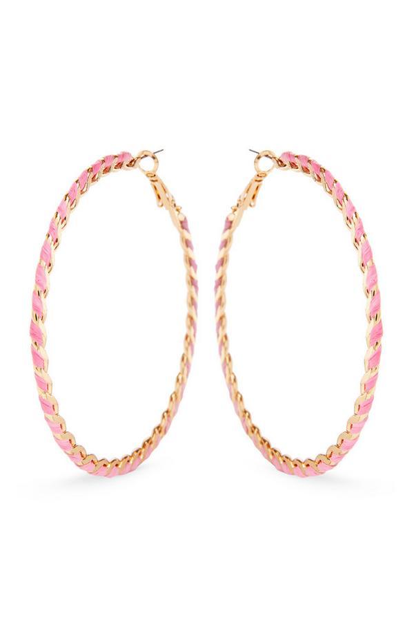 Rožnati zaviti večbarvni obročasti uhani