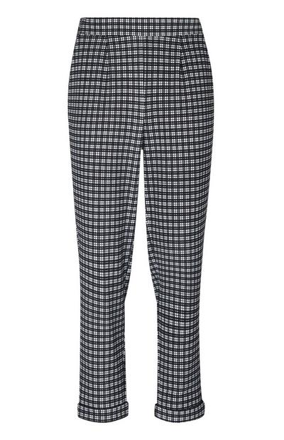 Black And White Check Peg Leg Trousers